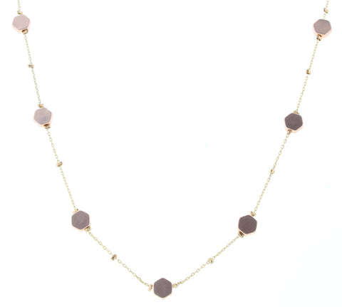 Jane Marie Zoe Rose Gold Hexagon Necklace