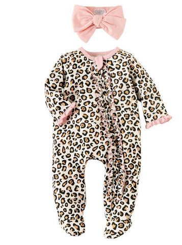 Mud-Pie Leopard Sleeper & Headband Set