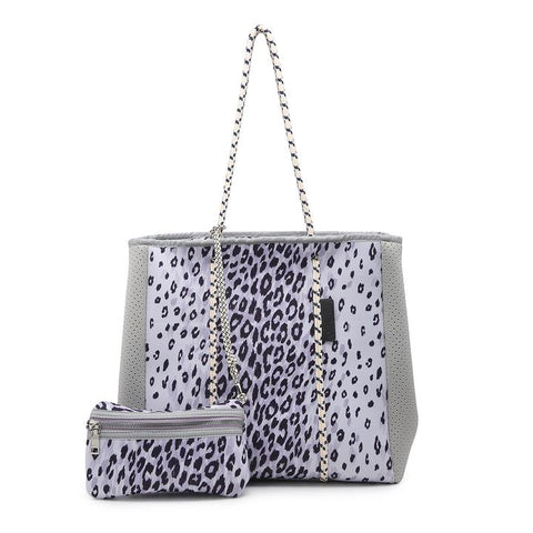 Ivory/Gray Cheetah Meribella Neoprene Bag