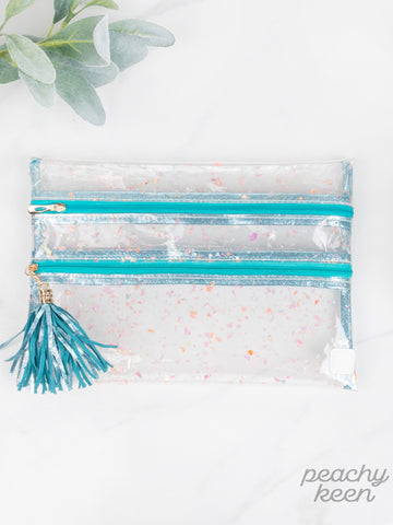 Mermaid Scales Clear Double Zipper Versi Bag