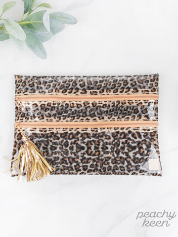 Livin' in Leopard Clear Double Zipper Leopard Versi Bag
