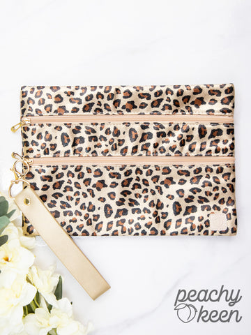Stay Golden Leopard Double Zipper Versi Bag