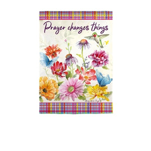 Prayer Changes Things Garden Suede Flag