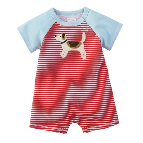 Mud-Pie Puppy Jersey Striped Shortall