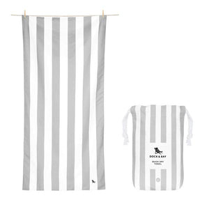 Extra Large Striped Quick Dry Towels - Goa Grey