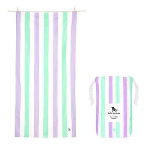 Large Striped Quick Dry Towels - Lavender Fields