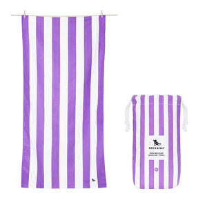 Extra Large Striped Quick Dry Towels - Brighton Purple