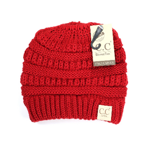 Kids Solid Red Classic CC Beanie Tail