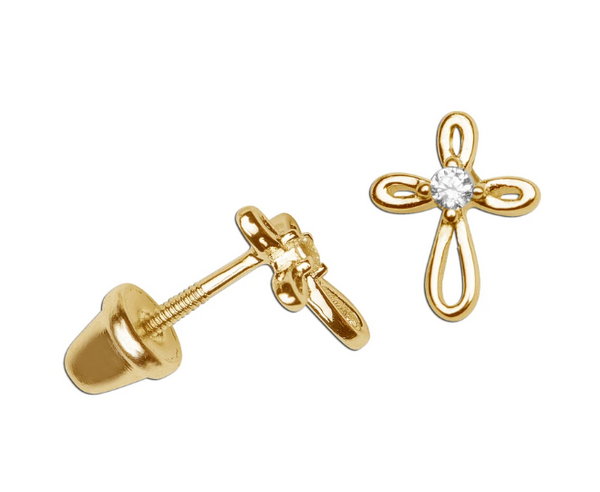 14K Gold-Plated Infinity Cross Earrings