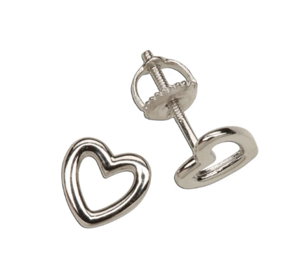 Sterling Silver Hollow Heart Earrings