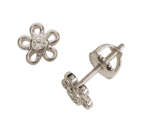 Sterling Silver Outline Daisy Earrings in Clear