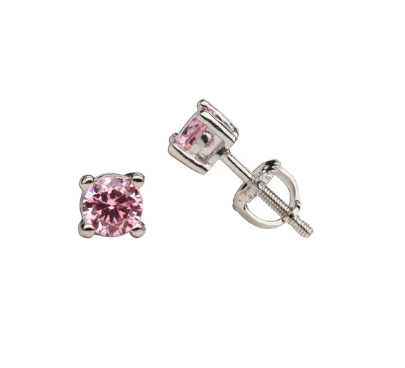 Sterling Silver Pink CZ Stud Earrings