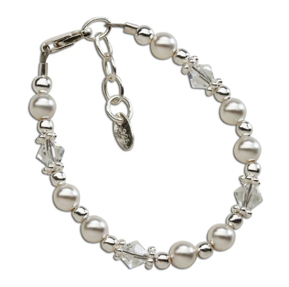 Hope - Sterling Silver Pearl and Crystal Bracelet