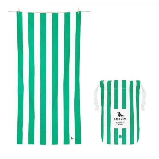Large Striped Quick Dry Towels - Cancun Green