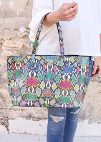 Cassie Snake Multi Graffiti Tote Bag