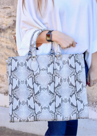 Marci Large Stone Grey Snake Tote Bag