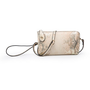 Light Peach Metallic Snake Kendall Crossbody/Wristlet