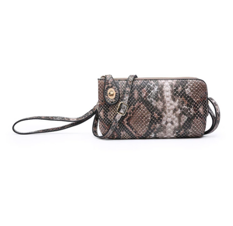 Coffee Bronze Python Kendall Crossbody/Wristlet