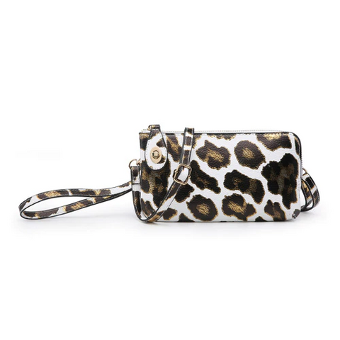 White Gold Metallic Leopard Kendall Crossbody/Wristlet