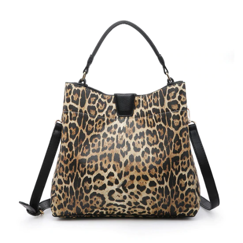 Black Leopard Tati Hobo Bag