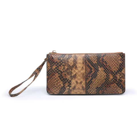 Dark Brown Python Rose Wallet/Wristlet