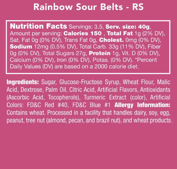 Rainbow Sour Belts Candy
