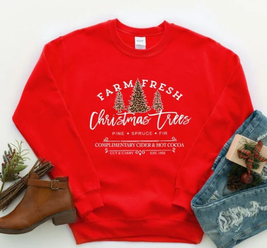 Farm Fresh Christmas Long Sleeve Graphic Tee