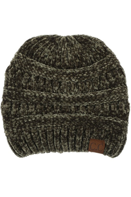 Solid New Olive Classic Chenille CC Beanie