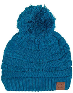 Solid Teal Classic CC Beanie with Pom