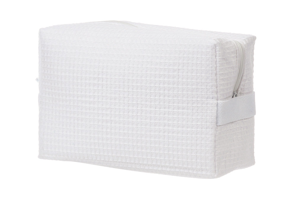 White Waffle Weave Cosmetic Bag