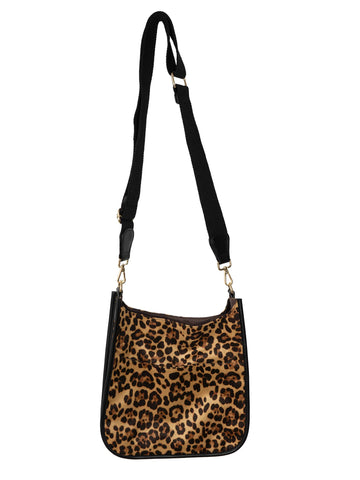 Cheetah Suede Messenger with Black Strap