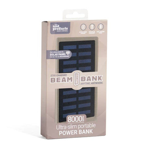 Portable Power Bank + Solar Recharger - Charcoal