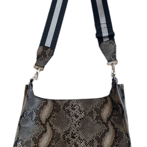 Grey Faux Python Messenger with Stripe Strap