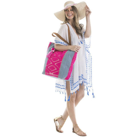 Hot Pink Denim Handbag/Beach Bag