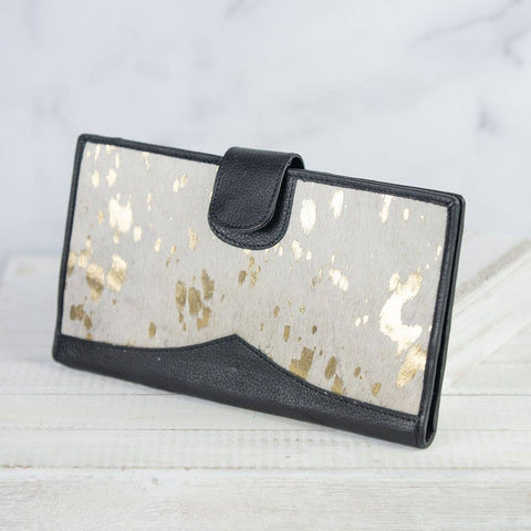 Metallic Cream Genuine Leather and Hide Wallet