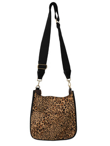 Leopard Suede Messenger With Black Strap