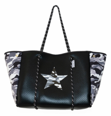 Black Neoprene Tote w/Camouflage Sides & Star
