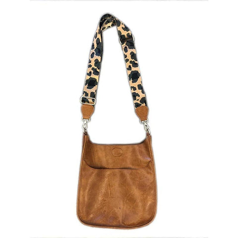 Large Camel Vegan Messenger With Leopard Strap