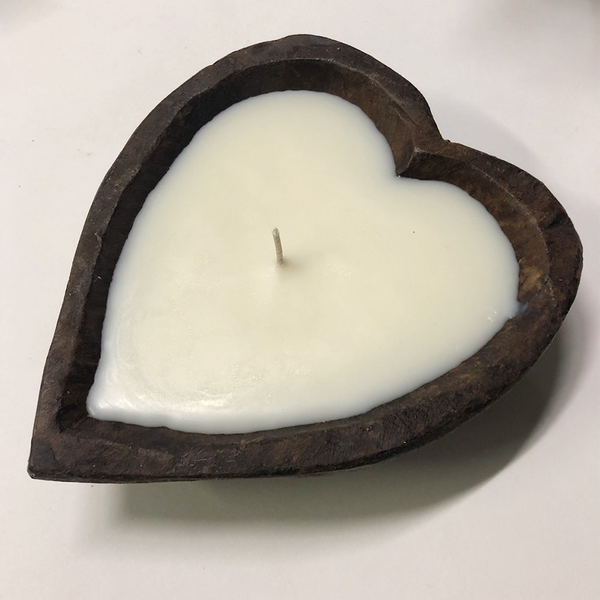 Hand Carved Dough Bowl Heart Candle