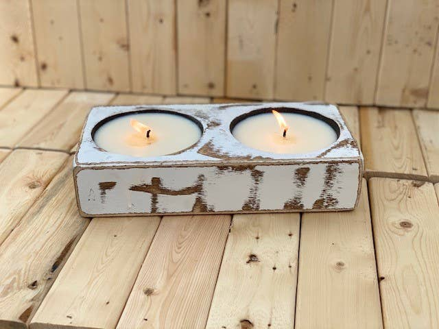 White Double Cheese Mold Candle - Sea Salt