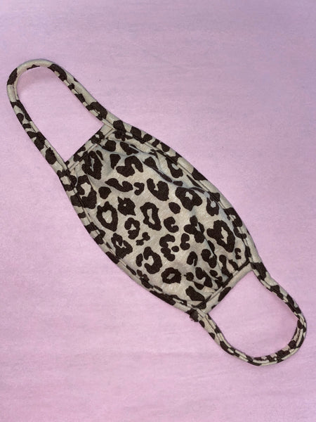 KIDS Taupe Leopard Face Mask
