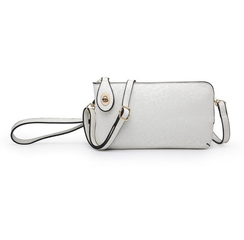 White Cheetah Kendall Twist Lock Wristlet/Crossbody