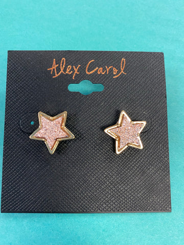 Rose Gold Druzy Star Earrings