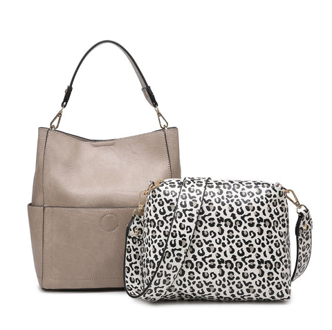 Khaki Cheetah Abby Bucket Bag