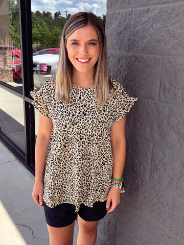 Savanna Jane Leopard Babydoll Top