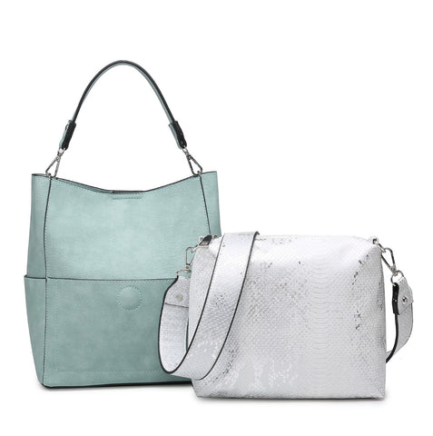 Light Teal Snake Abby Bucket Bag