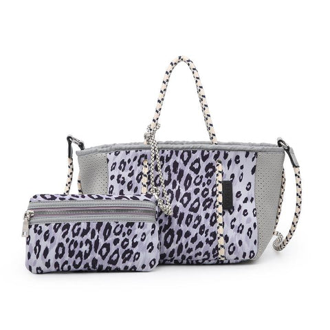 Ivory/Gray Cheetah Coralia Mini Neoprene Bag