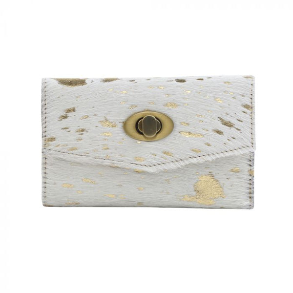 Myra Gold Indulgence Leather and Hairon Wallet