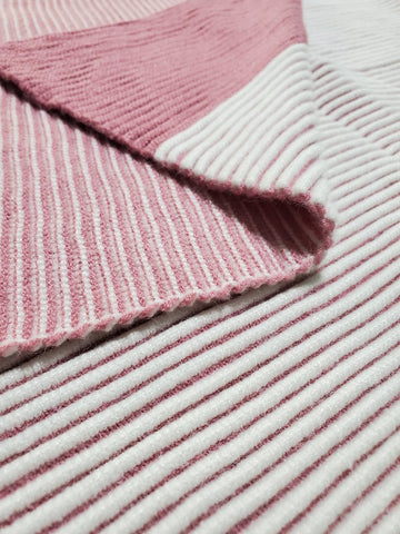 Striped Mauve Knit Blanket