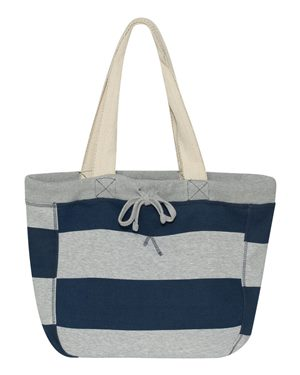 Grey/Navy Stripe Beach Bag